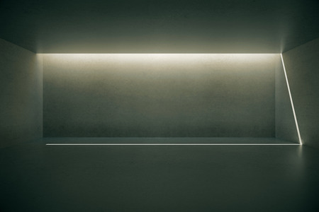 illuminated wall: Illuminated blank dark concrete wall in empty room interior. Mock up, 3D Rendering