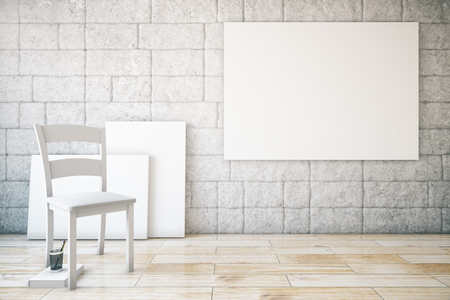 chair wooden: Abstract interior with blank white poster, chair, wooden floor and brick wall. Mock up, 3D Rendering Stock Photo