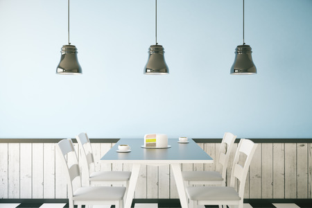 Cafe interior with cake and two coffee cups on table, light blue wall and three ceiling lamps. 3D Rendering