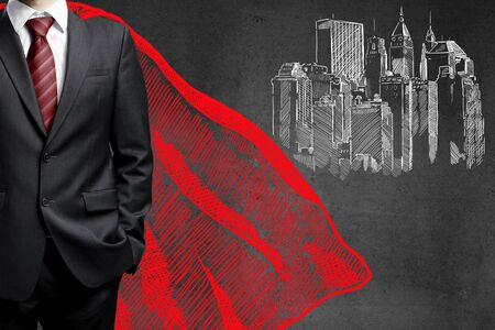 architectural drawing: Leadership and success concept with super man cape sketch and architectural drawing on concrete background