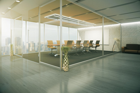 glass doors: Creative conference room interior behind glass doors with decorative vases, wooden floor, couch and city view. 3D Rendering Stock Photo