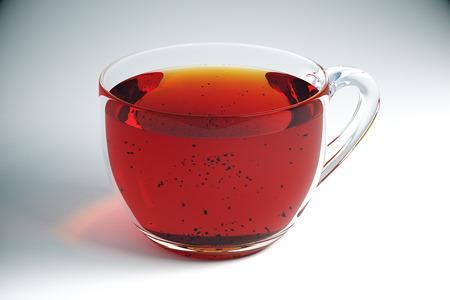 glass cup: Transparent cup of tea on light desktop. Closeup, 3D Rendering