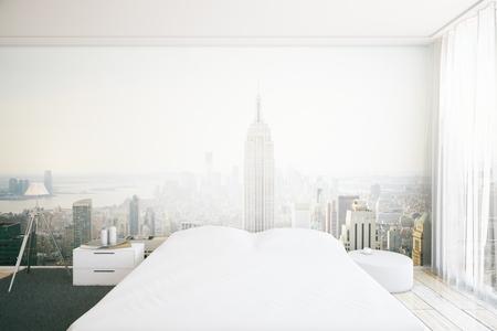 hotel bedroom: Creative furnished bedroom interior with New York city wallpaper. 3D Rendering