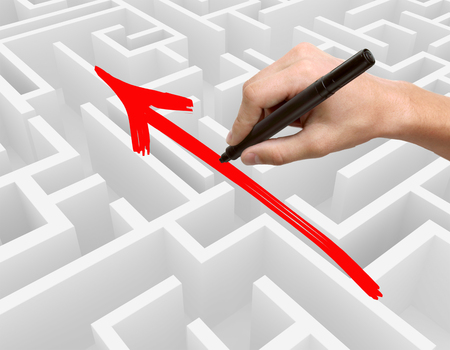 obstacle: Business obstacle overcoming concept with hand drawing red arrow on complicated maze. Side view, 3D Rendering Stock Photo