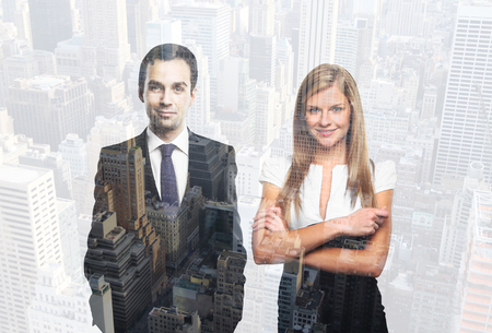 happy business team: Two happy successful businesspeople on city background. Double exposure
