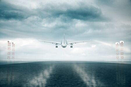 taking a risk: Back view of airplane taking off on stromy sky background. 3D Rendering Stock Photo
