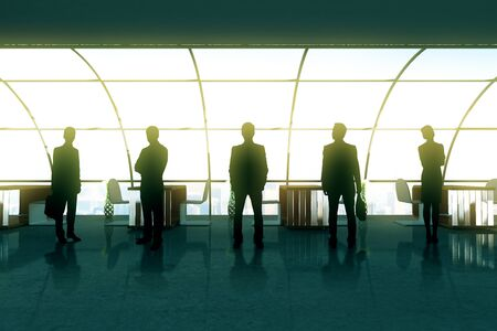 office windows: Businesspeople silhouettes in office interior with panoramic windows. Concept of partnership and teamwork. 3D Rendering