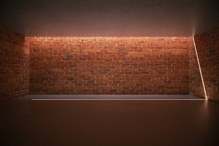 red brick: Illuminated blank red brick wall in empty room interior. Mock up, 3D Rendering