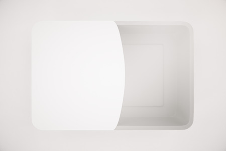 partially: Food container partially covered with blank label on light background. Mock up, 3D Rendering Stock Photo