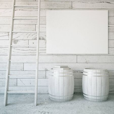 blank billboard: Light grey wooden interior with ladder, two barrels and blank billboard. Mock up, 3D Rendering