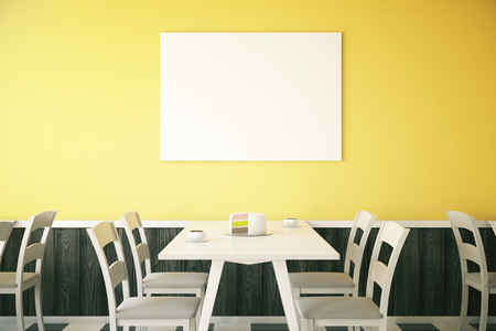 bright cake: Cafe interior with cake on table and blank poster on bright yellow wall. Mock up, 3D Rendering Stock Photo