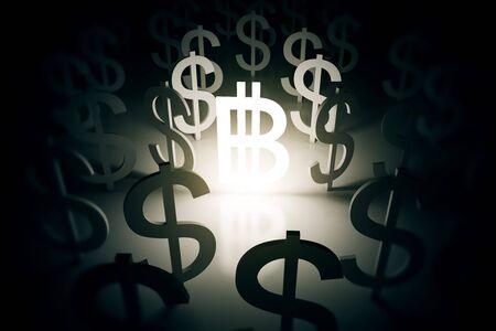 signos de pesos: Bitcoin signo iluminado rodeado de signos de dólar en superficie abstracta