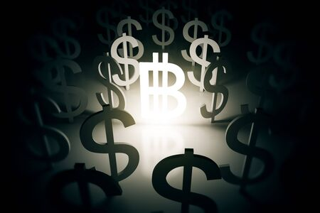 dollar signs: Illuminated bitcoin sign surrounded with dollar signs on abstract surface Stock Photo