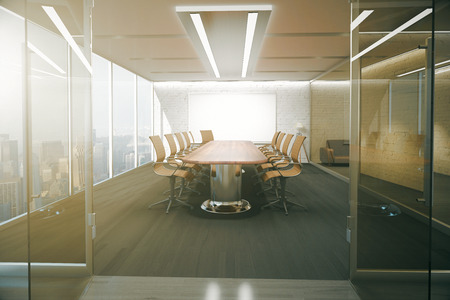 glass ceiling: Open glass door revealing modern conference room interior with ceiling lamps, blank whiteboard on brick wall, wooden floor and panoramic window with city view. 3D Rendering Stock Photo