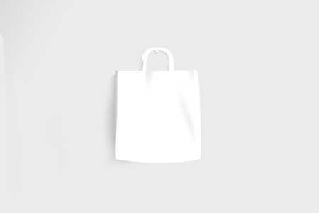 white paper bag: Blank white paper bag on light background. Mock up, 3D Rendering