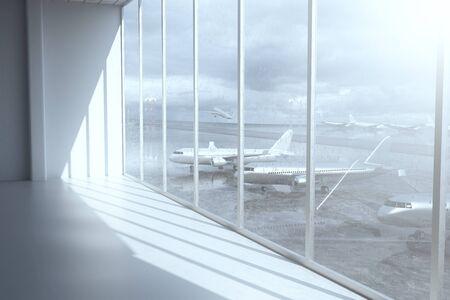 raining: Interior de la terminal del aeropuerto con luz del día y ventanas con una vista de los aviones. Representación 3D