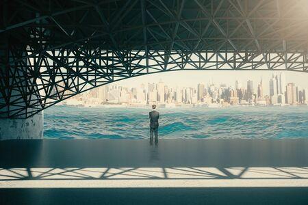 personas de pie: hombre pensativo que se coloca bajo el puente y mirando al río en la ciudad de fondo. Representación 3D