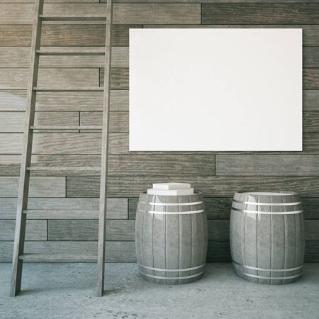 concrete stairs: Grey wooden interior with ladder, two barrels and blank billboard. Mock up, 3D Rendering
