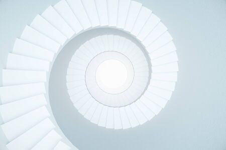 stair well: Stairwell with blank white circle in the middle on light background. 3D Rendering Stock Photo