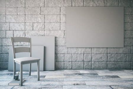 chair wooden: Abstract interior with blank grey poster, chair, wooden floor and brick wall. Mock up, 3D Rendering Stock Photo