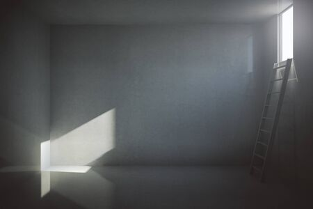 prison cell: Dark prison cell interior with blank concrete wall, ladder and small window with sunlight. Mock up, 3D Rendering Stock Photo