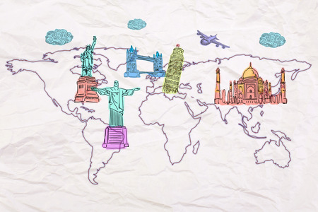 new world: Travel concept with abstract map on crumpled paper and sights sketches