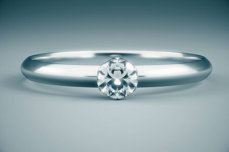 3d ring: Beautiful diamond ring on grey background. 3D Rendering