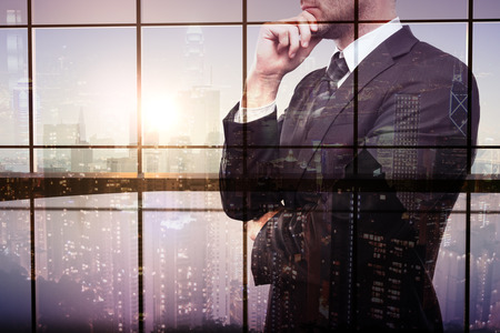 double chin: Thoughtful businessman on interior and city background. Double exposure