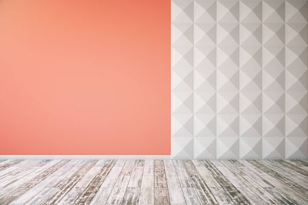 unfurnished: Interior with concrete floor, blank red and white patterned wall. Mock up, 3D Rendering