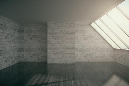 loft interior: Empty loft interior with brick wall, cocrete ceiling, dark wooden floor and window.3D Rendering