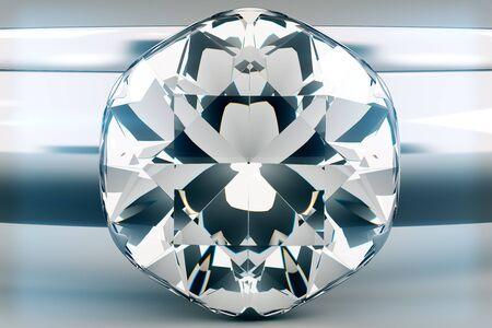 diamond background: Beautiful sparkling diamond on light grey background. 3D Rendering