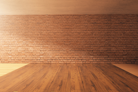 red brick: Empty interior design with wooden floor, red brick wall and concrete ceiling. Mock up, 3D Rendering Stock Photo
