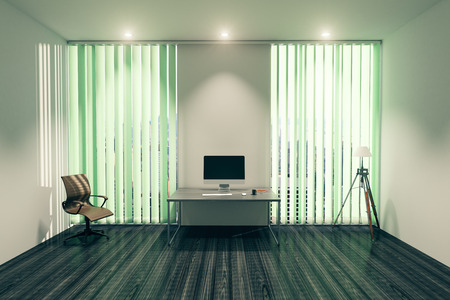 a blind: Modern office interior with blank computer monitor on desk, chair, floor lamp and windows with blinds. Mock up, 3D Rendering