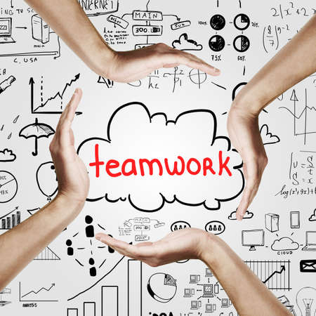 team hands: Team work concept with hands forming circle around cloud with teamwork text on light background with business drawings Stock Photo