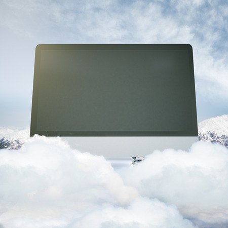 blank computer screen: Abstract huge blank computer screen on cloudy mountain top. Mock up, 3D Rendering