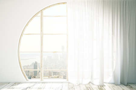 curtain: Creative interior design with round window, wooden floor and light curtains. 3D Rendering
