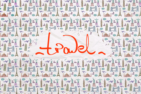 patterned wallpaper: Travel concept with patterned wallpaper and writing on a piece of crumpled paper