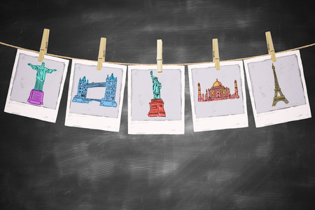 sights: Travel concept with sights pictures hanging on a rope with pegs on blackboard background Stock Photo