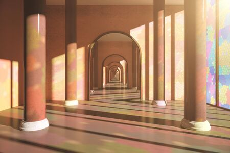 archway: Creative interior design with mosaic windows, columns and large mirror. 3D Rendering