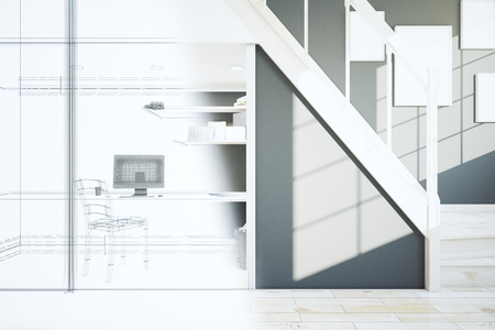 unfinished: Unfinished project of interior with wooden floor, staircase and workplace. 3D Rendering
