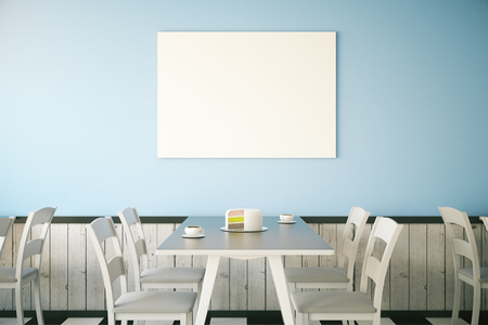 Cafe interior with cake on table and blank poster on light blue wall. Mock up, 3D Rendering