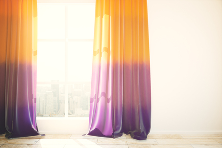 curtains: Window with city view and violet curtains in bright interior with wooden floor and blank concrete wall. Mock up, 3D Rendering