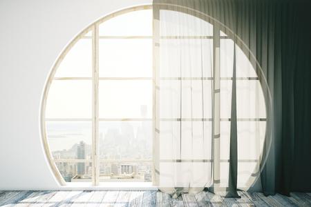 round window: Creative interior design with round window, wooden floor and dark curtains. 3D Rendering