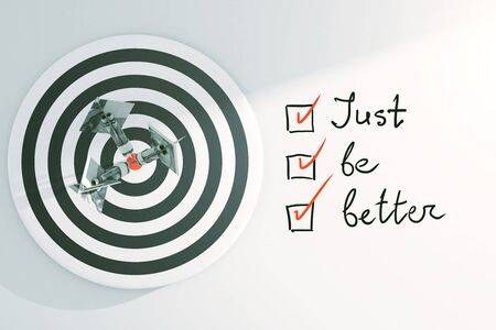 todo: Targeting concept with dartboard, dollar banknote darts and just be better to-do list with checkmarks on light background. 3D Rendering Stock Photo