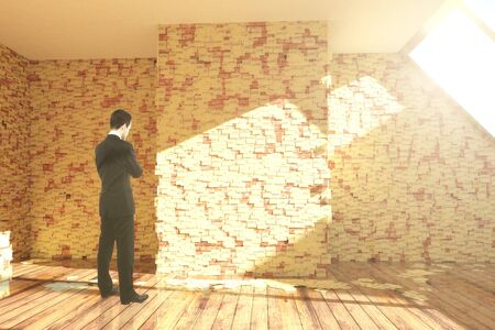 sticky: Thoughtful businessman in empty room interior with stickers all over walls and sunlight. 3D Rendering Stock Photo