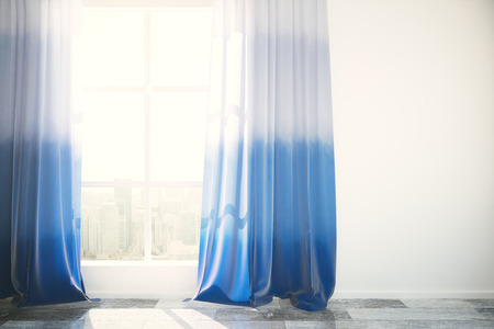 Window with city view and blue curtains in bright interior with wooden floor and blank concrete wall. Mock up, 3D Rendering