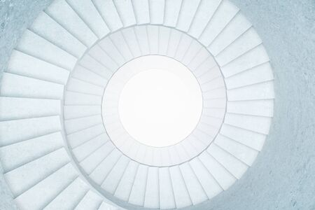 stair well: Concrete stairwell with blank white circle in the middle. Mock up, 3D Rendering