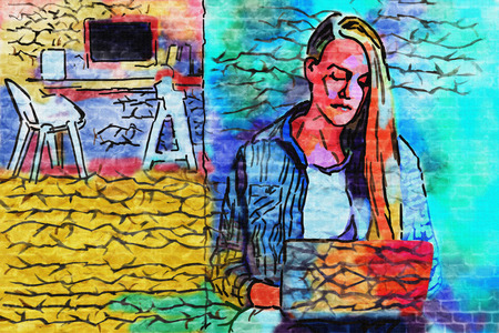 girl using laptop: Abstract colorful image of thoughtful girl using laptop Stock Photo