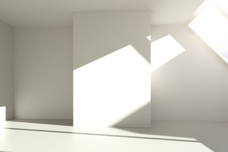 blank wall: Empty white interior with blank wall and sunlight. Mock up, 3D Rendering Stock Photo