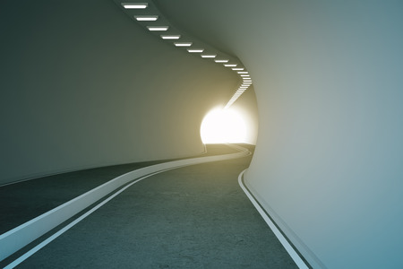 highway tunnels: Road tunnel with bright light at the end. 3D Rendering Stock Photo